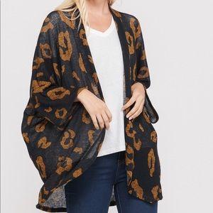 Sweaters - Leopard Print Kimono Cardigan